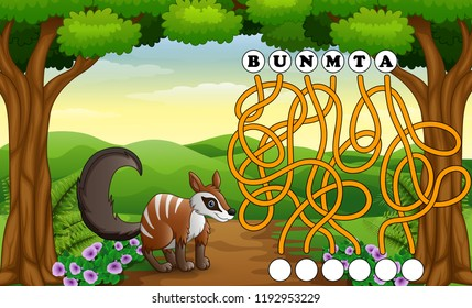 Game numbat maze find way to the word