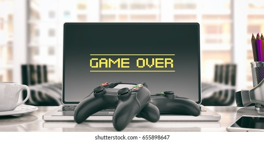 Game over on the computer. Video games controller in an office. 3d illustration