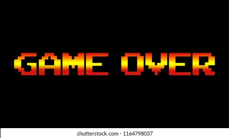 A game over screen. 8 bit clean gradient retro style.