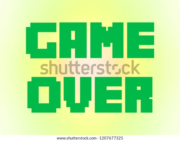 Game Over Text Message Screen Green Stock Illustration