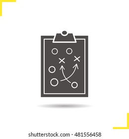 Game plan icon. Drop shadow tactics clip board silhouette symbol. Sport game strategy plan. Game plan logo concept. Raster sport scheme isolated illustration