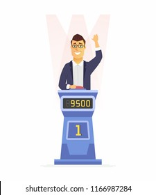 Game show player - cartoon people character isolated illustration on white background. A young smiling man participating in a TV program, answering questions at a stand with buttons and score