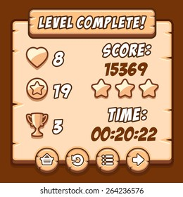 Game wood level complete icons buttons ui