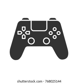 Gamepad glyph icon. Silhouette symbol. Joystick. Negative space. Raster isolated illustration