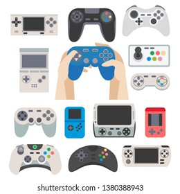 Gamer gamepad and gaming controller device  isolated icons