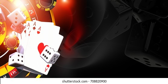 Games of Casino Banner Illustration with 3D Rendered Casino Elements Like Roulette Wheel, Blackjack Cards and Dices. Right Side Copy Space.