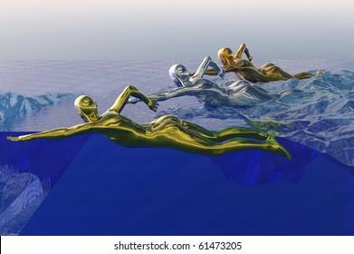 games concept image of gold medal swimmer