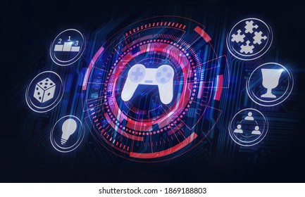 gamification in business processes or game development concept illustration in dark background