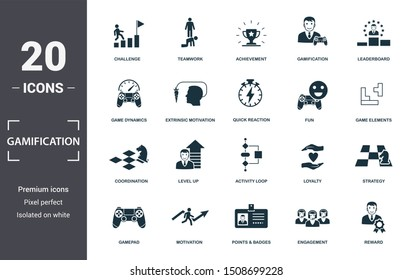 Gamification icon set. Contain filled flat game dynamics, achievement, game elements, points and badges, leaderboards, activity loop, level up icons. Editable format.