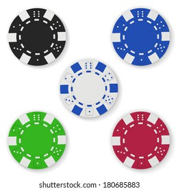 Gaming chips isolated on white background. Clipping path included.