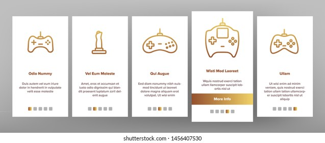 Gaming Joystick Onboarding Mobile App Page Screen. Gaming Joystick, Computer Games Accessories Linear Pictograms. Joypads for Playing Video Games, Entertainment Industry Equipment Illustrations