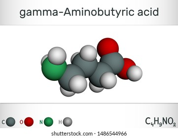 Gamma-Aminobutyric acid, GABA molecule. It is a naturally occurring neurotransmitter with central nervous system inhibitory activity. Molecule model. 3D rendering