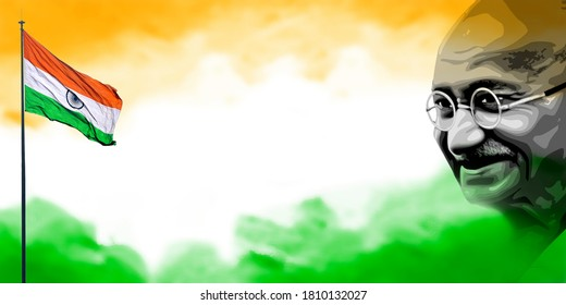 Gandhi 15 august 26 January independence day Indian flag father of nation patriotism freedom tricolor national day holiday republic day