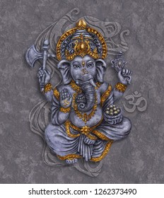 Ganesh - Hindu God Lord of Wisdom and Well Being. Digital art. Picture for the interior.
