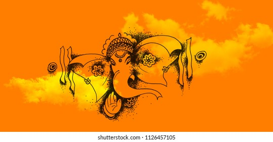 Abstract Ganesha Doodle Art