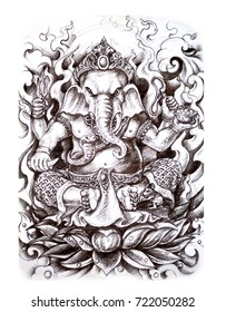 Ganesha drawing thai style for tattoo Full back