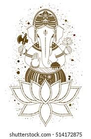 Ganesha, or Ganapati, Indian deity in the Hindu, mehndi in lotus flower. Paint splash. illustration for design of prints, web, Chaturthi invitations.
