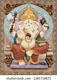 Ganesha God Colorful illustartions.Ganesh Wallpaper.