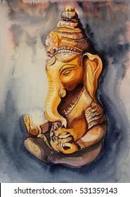 Ganesha illustration watercolor . Meditation concept.