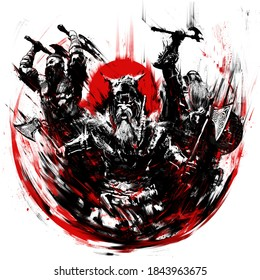 A gang of enraged berserkers of the Vikings roaring in the heat of battle, rushing into a bloody battle against the backdrop of a red sun. 2D illustration
