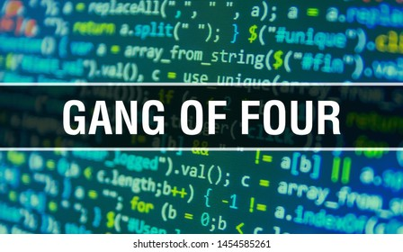 Gang of four concept with Random Parts of Program Code. Gang of four with Programming code abstract technology background of software developer and Computer script. Gang of four Background concept