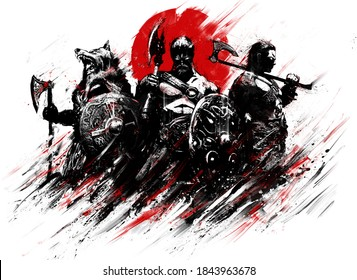 A gang of stern Vikings stand ominously with shields and axes against the bright bloody sun. 2D illustration