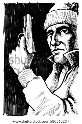 Image of: Pictures Gangster With Gun Black And White Ink Drawing Yawebdesign Gangster Gun Black White Ink Drawing Stock Illustration Royalty
