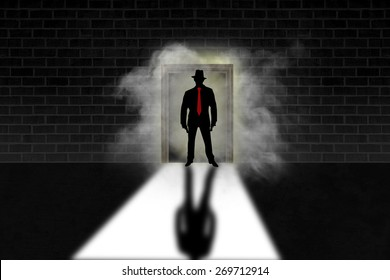Gangster with guns standing in doorway surrounded by smoke. Simple creative illustration background design./Gangster background illustration/Illustration