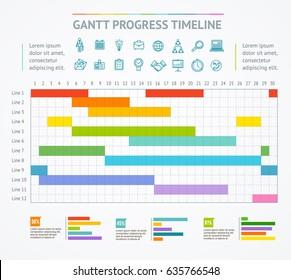 Gantt Progress Line Business Plan or Project Chart Timeline. illustration