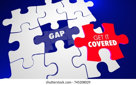 Gap Get it Covered Puzzle Pieces Close Fill in Hole 3d Illustration