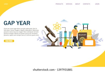 Gap year website template, web page and landing page design for website and mobile site development. Sabbatical year or time of rest, study or travel concept.