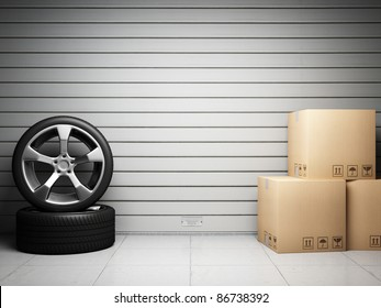 Garage with car spare parts on background of roller shutter door