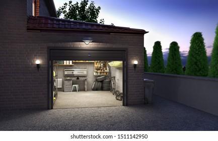 Garage exterior in the evening with open door, 3d illustration