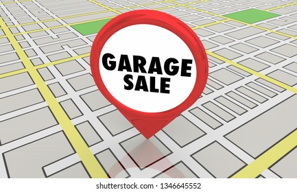 Garage Sale Rummage Subdivision Event Map Pin Location 3d Illustration