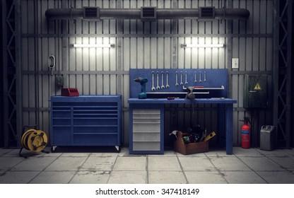 Garage workshop with tools & equipment. 3d rendering