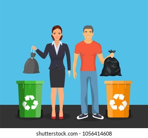 Garbage can, waste bin, trash container, dumpster infographic. Keep clean or do not litter, concept Raster version.