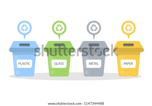 Garbage containers set. Paper and glass, metal and plastic.