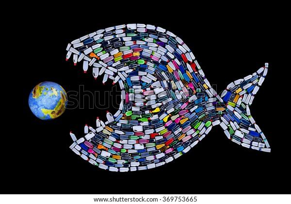 Des ordures détruisant nos océans et notre terre - concept avec des bouteilles en plastique qui mangent la planète