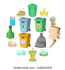 Garbage items icons set. Cartoon illustration of 16 garbage items icons for web