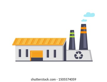 Garbage recycling building facility with recycle signs, tubes and smoke, broad entrance, thin windows, environmental protection raster illustration