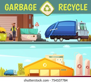 Garbage recycling green  eco friendly service symbol and processing facilities 2 cartoon style banners isolated  illustration