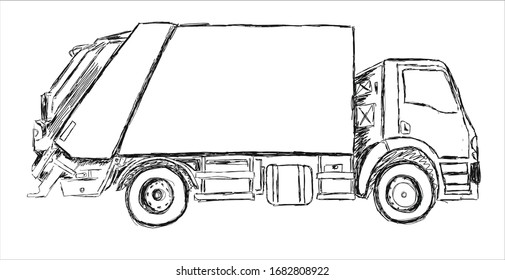 garbage truck car line illustration