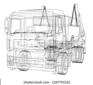 Garbage truck concept. 3d illustration. Wire-frame style