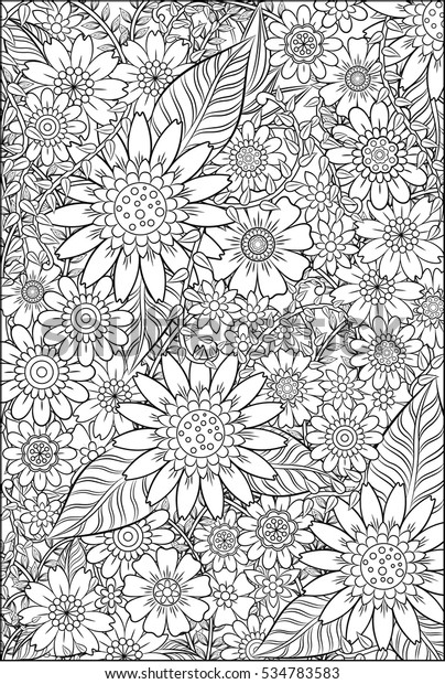 Garden Adult Coloring Page Stock Illustration 534783583