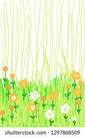 Garden background for Kawaii animals, fun Flowers, grass spring , summer, easter, leaves design