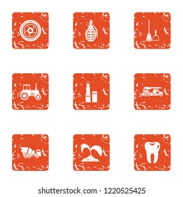 Garden establishment icons set. Grunge set of 9 garden establishment icons for web isolated on white background