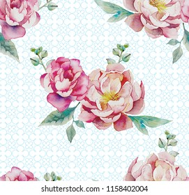 Garden flowers of rose. Seamless floral pattern. illustration - template of luxury packaging, textiles, paper. Leaves and pink flowers on printed background. Victorian realistic style. Vintage.