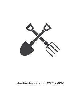 garden fork and shovel icon on white background