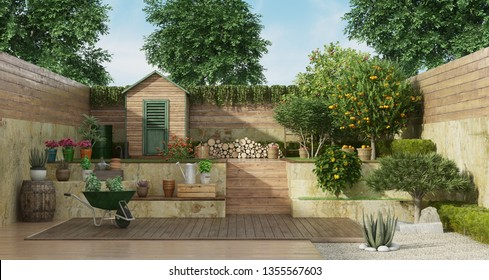 Garden with gardening tools , wooden shed and fruit tree - 3D Rendering