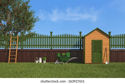 Garden with gardening tools,wooden shed ,fence and apple tree - 3D Rendering